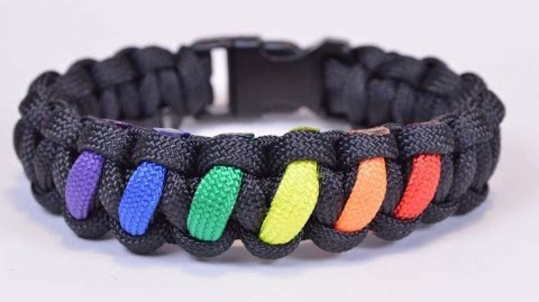 Make a Rainbow Colored Paracord Survival Bracelet with Buckle